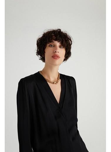Rue Pilili Saten Bluz Siyah
